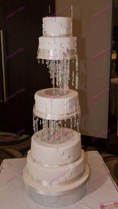 Designer Wedding Cake with Crystal Waterfall Design.