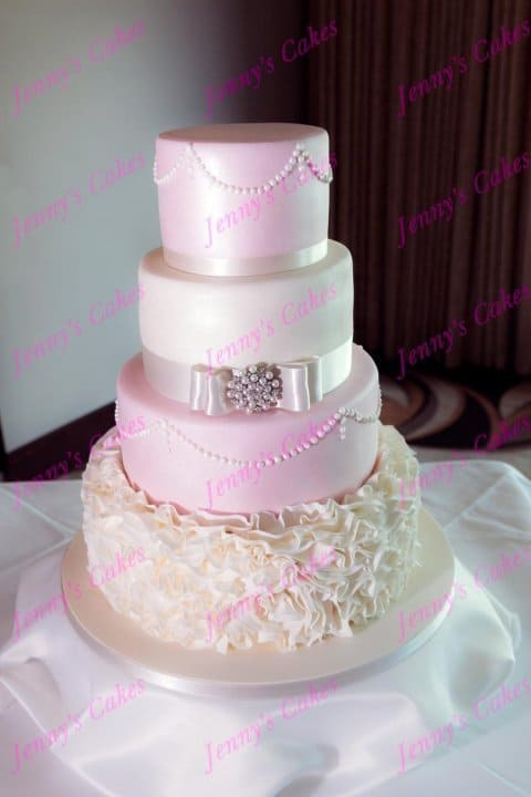 Blush Pink Wedding Cake with Ruffles