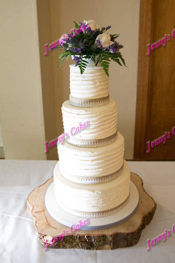 ridged butter cream fresh flowers rustic wedding cakes