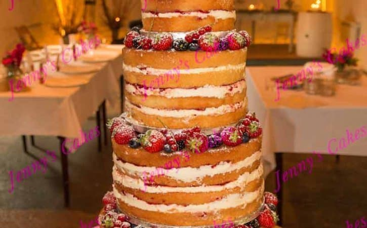 Naked Wedding Cake Four Tier Stacked Design