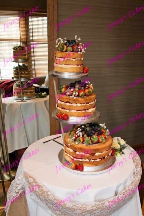 Naked Wedding Cake on Tall Stand