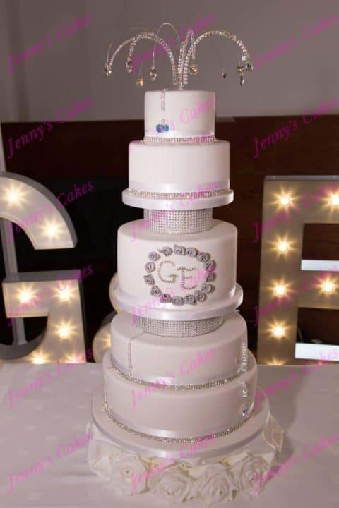 Six Tier Designer Wedding Cake with Crystal Initials