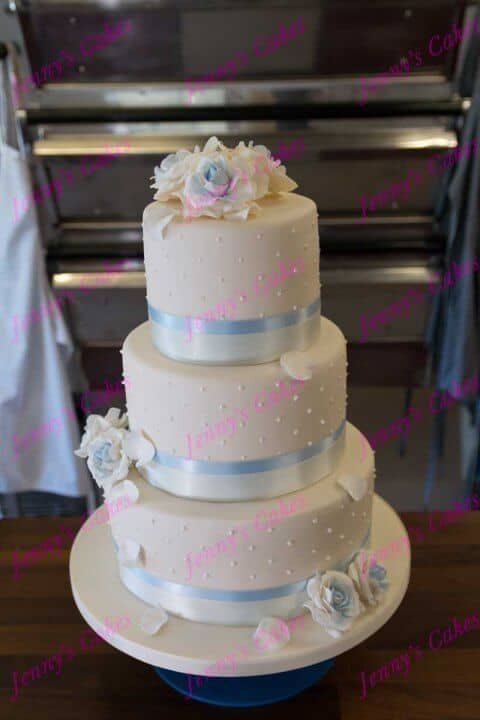 Wedding Cake with soft blue roses