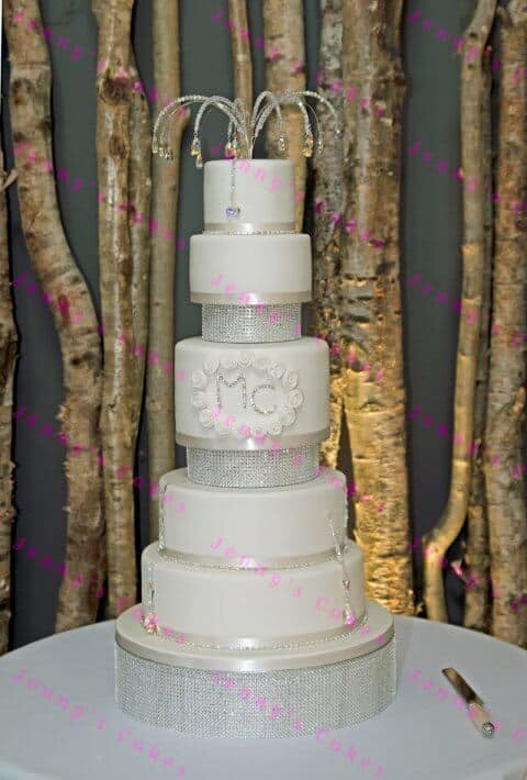 Six Tier Crystal Themed Wedding cake