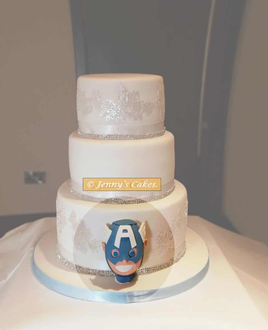 Wedding Cake with Captain America model